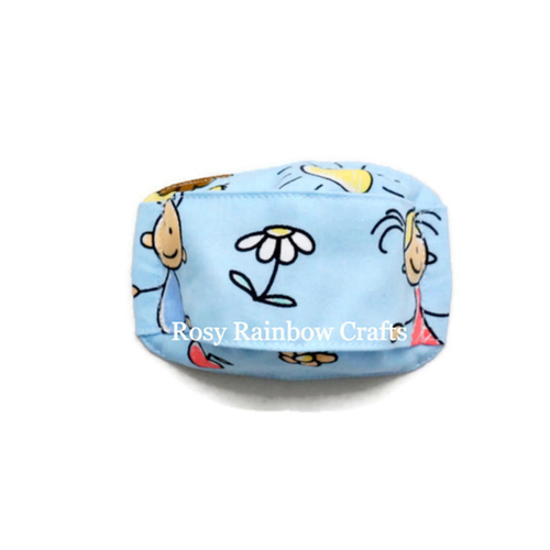 Exclusive Handmade 3D OrigamiBoat Mask Happy Kids Blue Small+ 4-8 years old