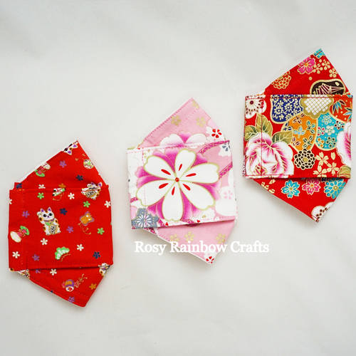 Exclusive Handmade 3D OrigamiBoat Masks Chinese Red Lucky Cat Large YouthWomen