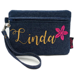Exclusive Customs Made To Order Embroidered Zippered Pouch  Case In Denim Large.