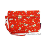 Exclusive Handmade Zippered Pouch  Case in Large Lucky Cat