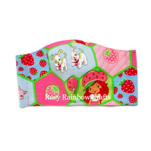 Exclusive Handmade Kids Masks Classic Strawberry Shortcakes Pink Hex 7-12 years old