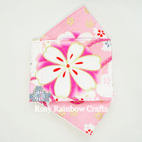 Exclusive Handmade 3D OrigamiBoat Masks Chinese Pink Florals Extra Small 1-3 years old