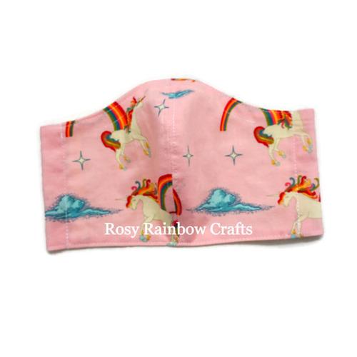 Exclusive Handmade Kids Masks Rainbow Unicorns Pink 7-12 years old