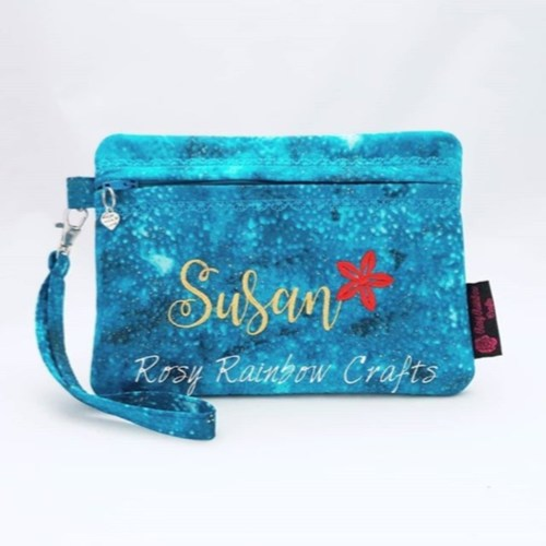 Exclusive Limited Edition Customs Made To Order Embroidered Zippered Pouch Case Large