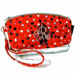 Exclusive Handmade Embroidered Customs Made To Order Clematis in Festive Red Dots With YKK Metal Zipper.