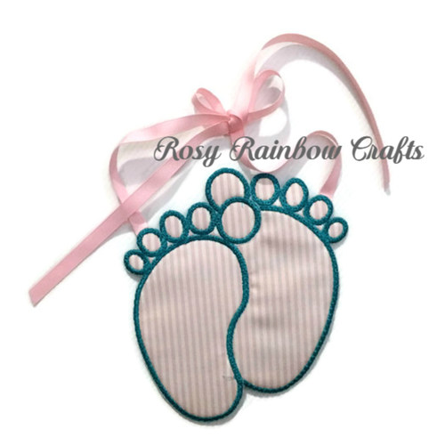 Exclusive Handmade Embroidered Customs Made To Order Baby Announcement Foot Prints