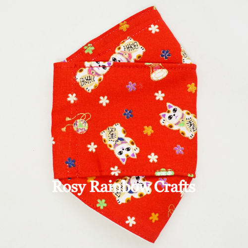 Exclusive Handmade 3D OrigamiBoat Masks Chinese Red Lucky Cat Extra Large Men