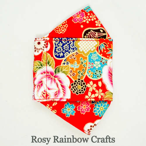 Exclusive Handmade 3D OrigamiBoat Masks Chinese Red Florals Medium 7 - 9 years old