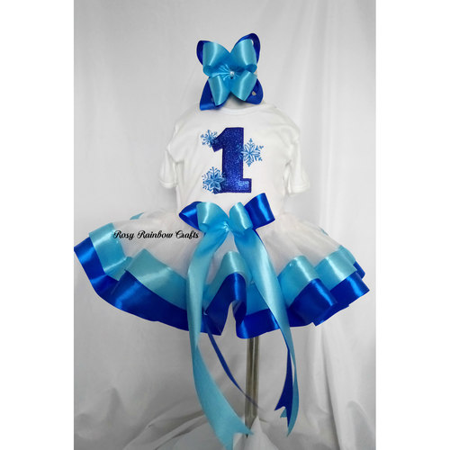 Exclusive Handmade Embroidered Customs Made To Order RomperTops With Tulle Tutu Frozen Inspired Birthday