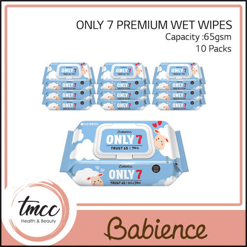 WITH FREE GIFT Carton Babience Only 7 Premium Wet Wipes 65gsm x 10packs