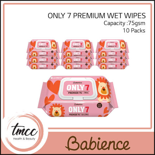 WITH FREE GIFT Carton Babience Only 7 Premiume Wet Wipes 75gsm x 10packs