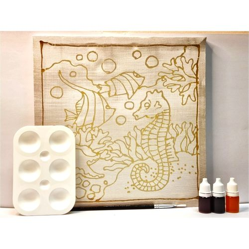 Prewaxed Batik Frame Seahorse Includes Brush & Palette