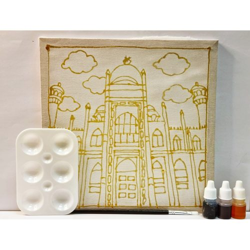 Prewaxed Batik Frame Masjid Sultan Includes Brush & Palette