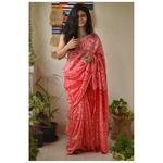 Handwoven Chanderi  silk shibori saree