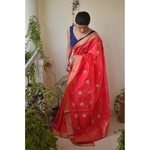 Handwoven Chanderi pattu silk saree with meenakari bootis motif and border.