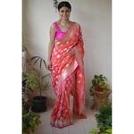 Handwoven Katan Silk Banarasi saree with handwoven motif and jari on pallu.