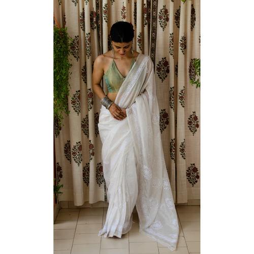 Handembroidered chikankari  with hand embroidered mukaish work kota silk saree.