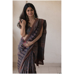 Handloom tussar silk  saree in natural dyed handblock ajrak print.
