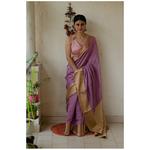 Handloom soft pattu silk with gold jari border