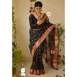 Handwoven chanderi silk saree with gold jari woven border and jari bootis motifs.