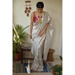 Handwoven line saree blended with tissue.