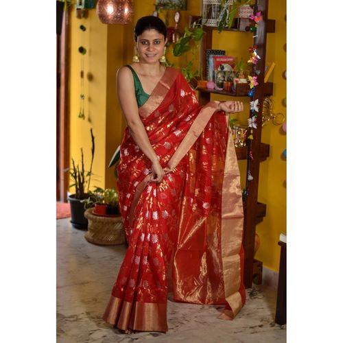 Handwoven Chanderi cotton silk saree with jaal khadiyal jari motif in silver and gold jari motif.