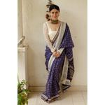 Handblock Printed Kota Silk Saree with patch borders in Satin silk/Crape Silk/Organza/Georgette Silk on the inside