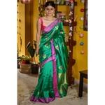 Handwoven Chanderi pattu  silk saree with jari and silk thread meenakari motif