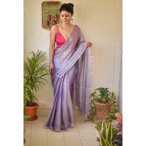 Handwoven metallic linen saree with silver/ golden jari bootis