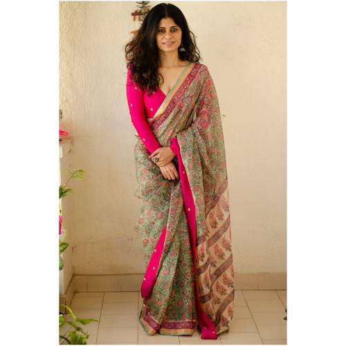 Kota silk  saree in natural dyed handblock print with organza silk/chiffon silk patch work border.