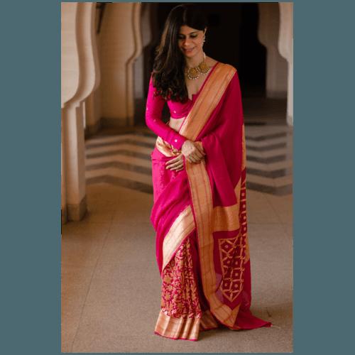 Pure moonga silk kadwa handloom banarasi saree