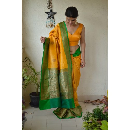 Handwoven Tussar Banarasi saree with  kadhwa motif saree with jari border and pallu