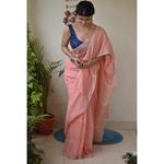 Handwoven jari blended checked linen saree