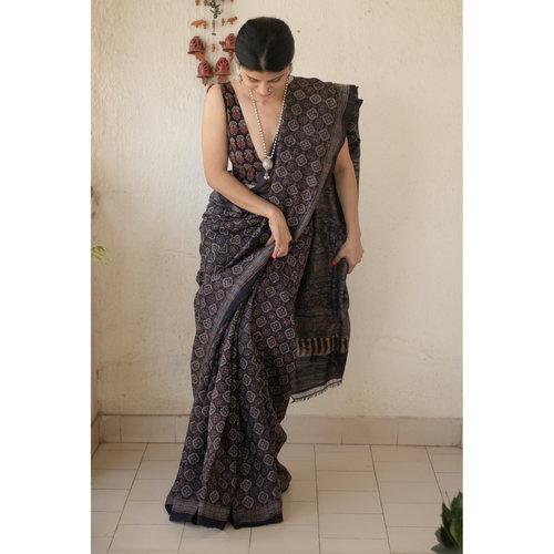 Handloom tussar silk  saree in natural dyed handblock ajrak print.