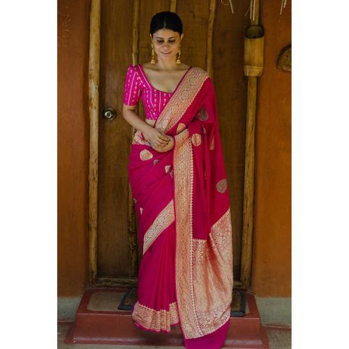 Handwoven kadhwa chiffon roopa booti banarasi saree.