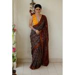 Handloom ,Handblock printed and handmade natural dyed mangalagiri cotton Ajrakh  saree.