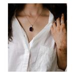 Handmade silver semi  magenta agate pendant with silver chain