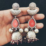 Red tribal Stone Silver Earring - Long design