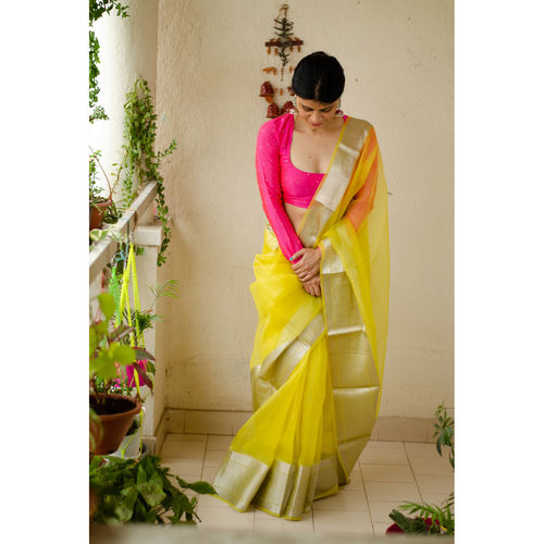 Soft  silk organza saree with silver zari banarasi border.