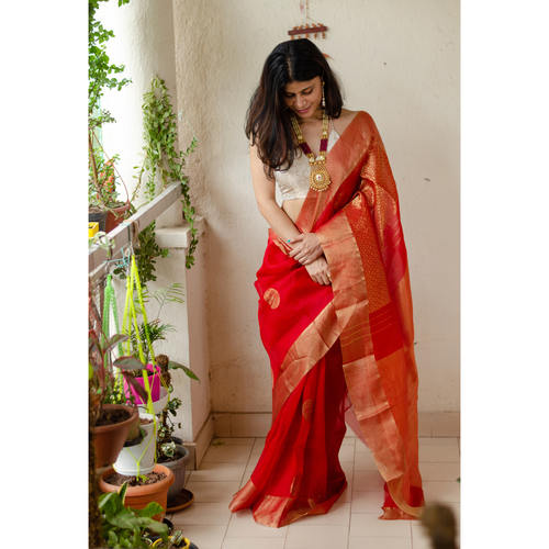 Soft  silk organza saree with goldan zari  border.