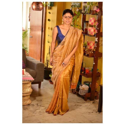 Handwoven metallic linen saree in double shade