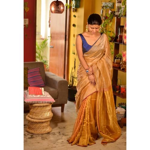 Handwoven metallic linen saree in double shade