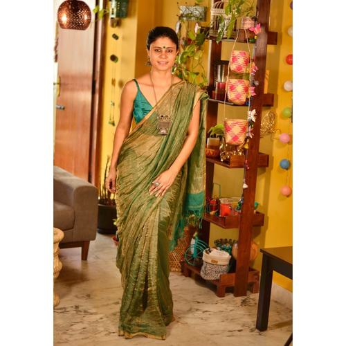 Handwoven Jari blended linen saree