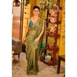 Handwoven Jari blended linen saree