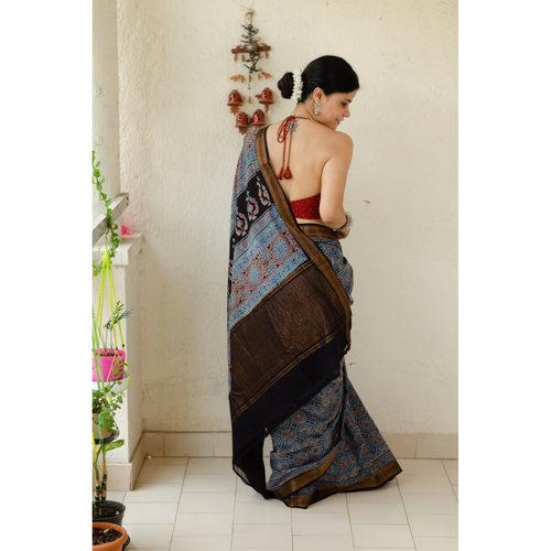 Handblock printed and handmade natural dyed mangalagiri cotton Ajrakh  saree.