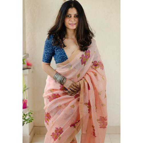 Handblocked printed handloom linen by linen saree with goldsilver zari border
