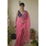 Handmade and handembroidered kota doria saree