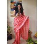Handwoven Chanderi silk shibori saree.