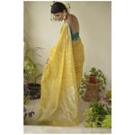 Handwoven Chanderi silk saree with booties motif and jari border