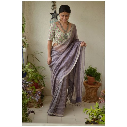 Handwoven Thin Tissue wrap plan linen jari saree